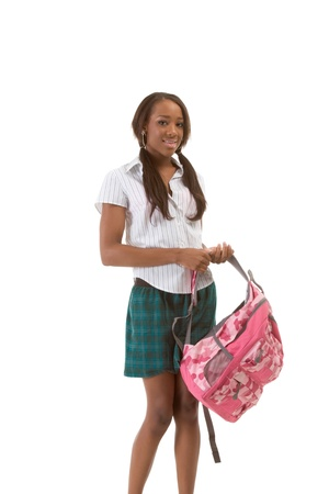 Friendly ethnic black woman high school student with backpack photo