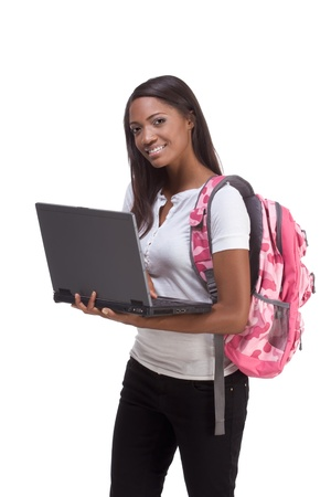 education series template - Friendly ethnic black woman high school student typing on portable computer Stock Photo