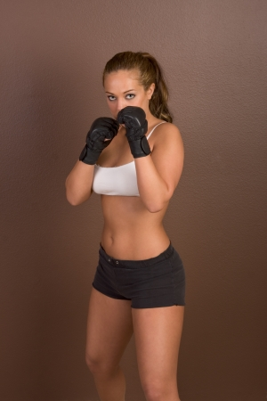 trainees: Woman in boxing gloves Stock Photo