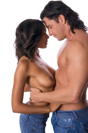 Lovers - Interracial sensual couple in love Stock Photo - 12232236