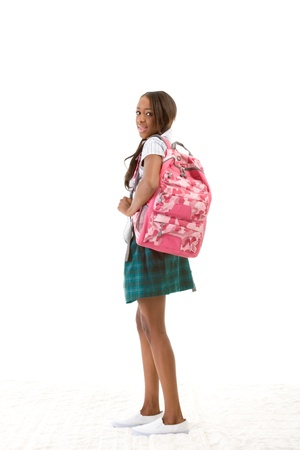 Friendly ethnic black woman high school student with backpack Stock Photo - 12334224