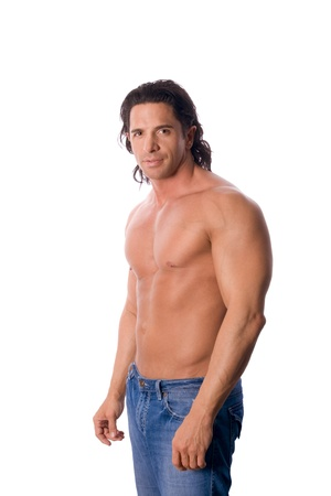handsome muscular shirtless man in jeans photo