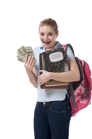 fundraiser: education financial aid Caucasian college student holds pile 100 (one hundred) dollar bills happy getting money help to subsidies costly university cost Stock Photo