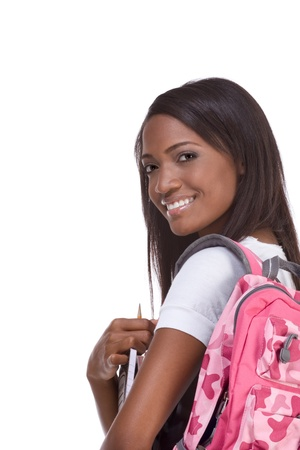 education series - Friendly ethnic black female high school student with backpack and composition book Stock Photo - 12780933