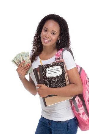 estudiante de secundaria: educaci�n para recaudar fondos de ayuda financiera �tnico negro africano-americano universitario tiene pila 20 (veinte) billetes de d�lar feliz conseguir dinero para ayudar a los subsidios costosos costo universitario