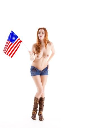 Topless femme caucasienne tenant le drapeau américain Banque d'images - 17851326
