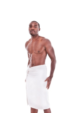 shower man: Young handsome Athletic muscular ethnic black Afro-American man Stock Photo