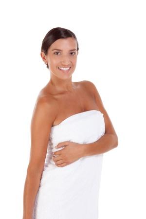 woman bath: Young Caucasian woman wrapped in bath towel