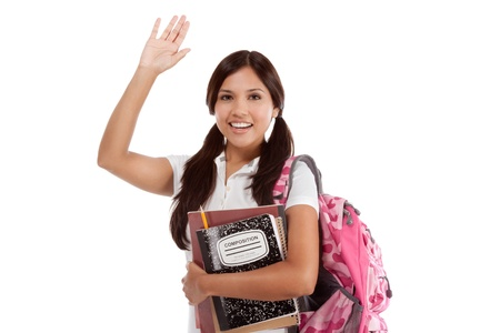 education series - Friendly ethnic Latina female high school student with backpack and composition book, gesturing and greeting