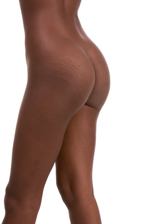 stretch marks on buttocks ass of Nude young African-American female model (side view) photo