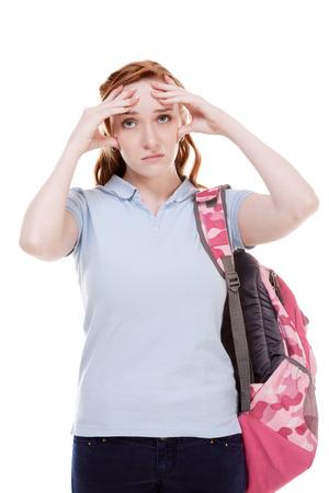 Déprimé rousse étudiant jeune femme caucasienne Banque d'images - 26641296