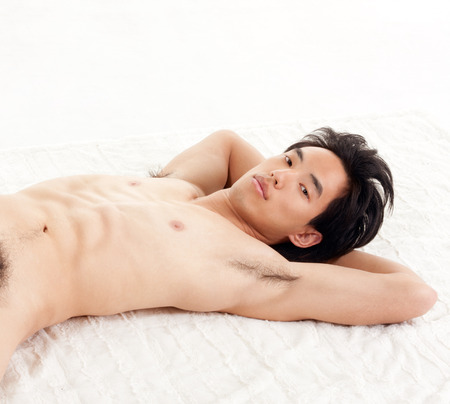 asia nude: Young naked Handsome Asian Chinese man Stock Photo