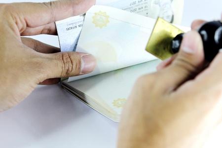 Passport being stamped