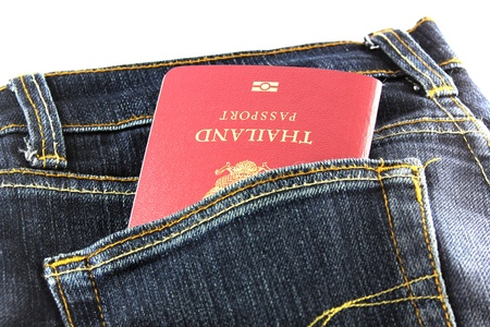 Passport in Jean Stock Photo