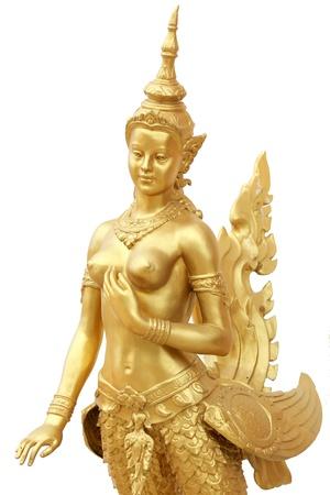 Sculpture half-bird half-woman in isolated