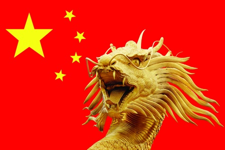 Sculpture dragon in China Flag photo