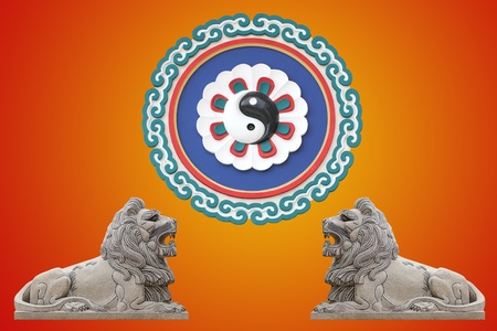 taoisme: Leeuw met Taoïsme symbool