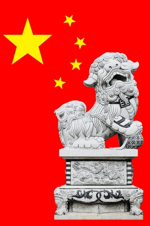 Stone lion statue with China Flag Background Stock Photo