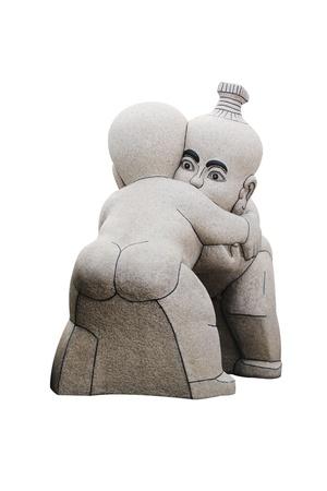 Sculpture children on white background
