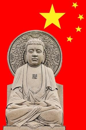Bhudda ChineseSculpture in China flag