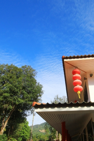 Chinese lantern with blue sky Stock Photo