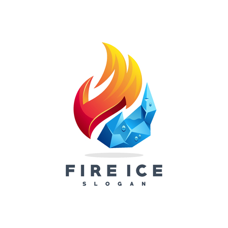 Fire water logo design Stock Illustratie