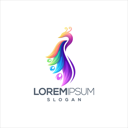 awesome colorful peacock logo design vector ready to use  イラスト・ベクター素材