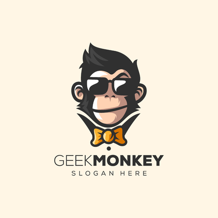 awesome monkey logo vector illustration  イラスト・ベクター素材