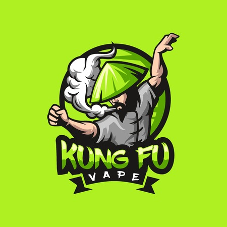 awesome kungfu vape logo design ready to use Reklamní fotografie - 120485977