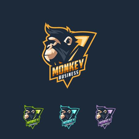plantilla de ilustración de vector de diseño de logotipo de mono