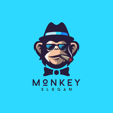 cool monkey logo design vector illustrator Ilustrace