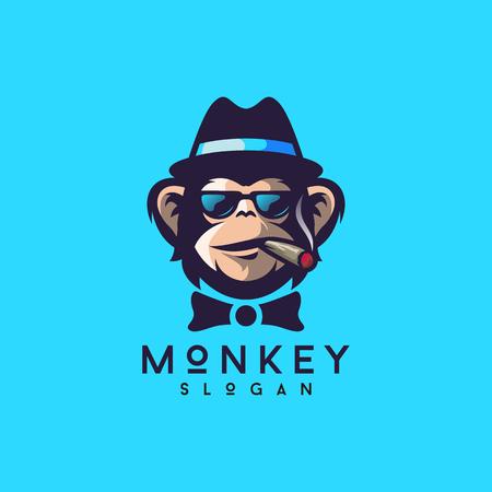 illustratore di vettore di design logo scimmia cool