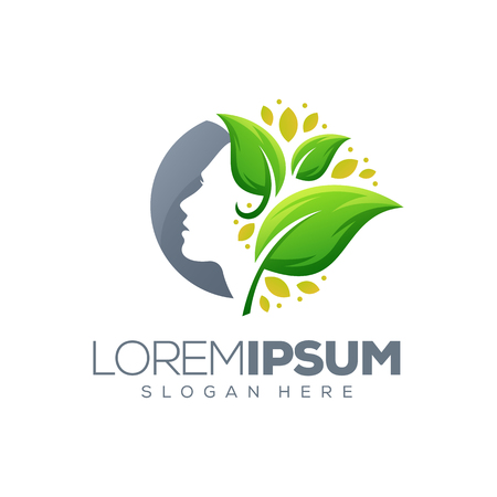 woman leaf logo design,vector,illustration