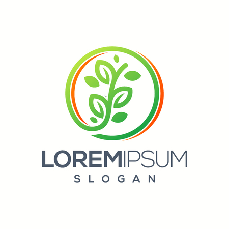 circle leaf logo design Ilustração