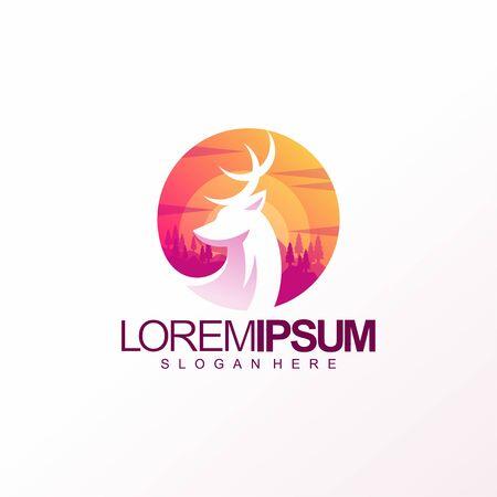 colorful deer logo design vector illustration Çizim