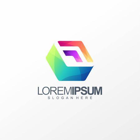 cube box logo design vector illustration