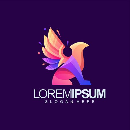 gryphon logo design vector illustration