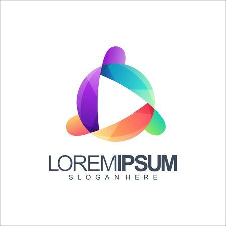 colorful media logo design vector illustration