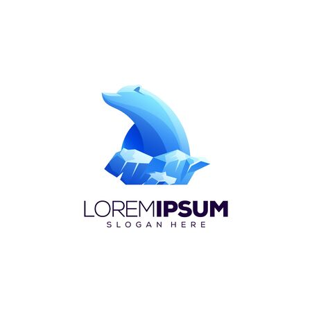 polar bear logo design vector illustration