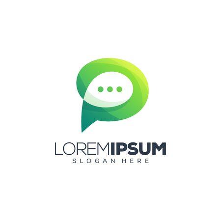 letter p chat logo design vector illustration logo design