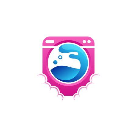 washing machine logo design vector illustration Ilustrace