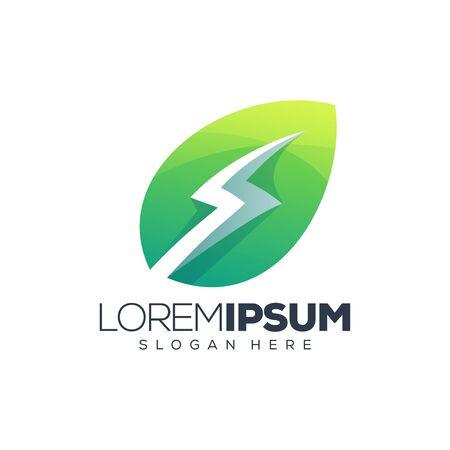 leaf energy logo design vector illustration