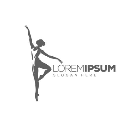 woman dancing logo design vector illustration Çizim
