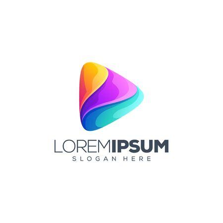 music media logo design vector illustration