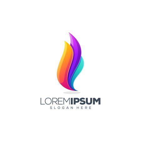 Ilustración de vector de diseño de logotipo de llama colorida Logos
