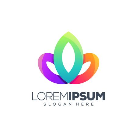 colorful lotus logo design vector illustration Standard-Bild - 129163573