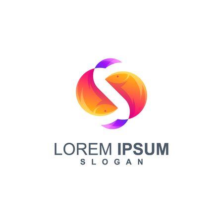 fish color logo design vector