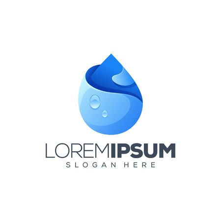 awesome water logo design vector illustration  イラスト・ベクター素材
