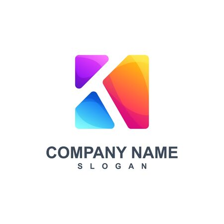 colorful letter K logo design vector illustration Stock fotó - 129794839