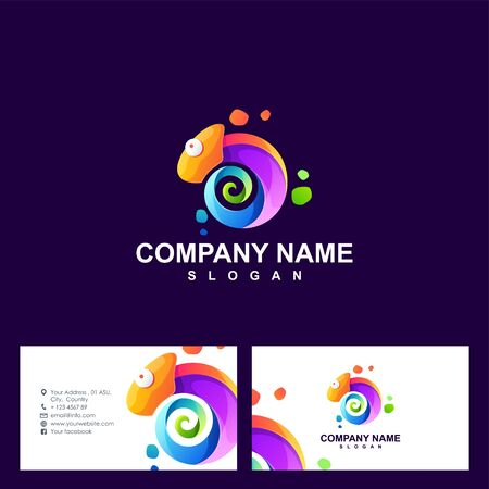 chameleon logo design vector illustration Иллюстрация